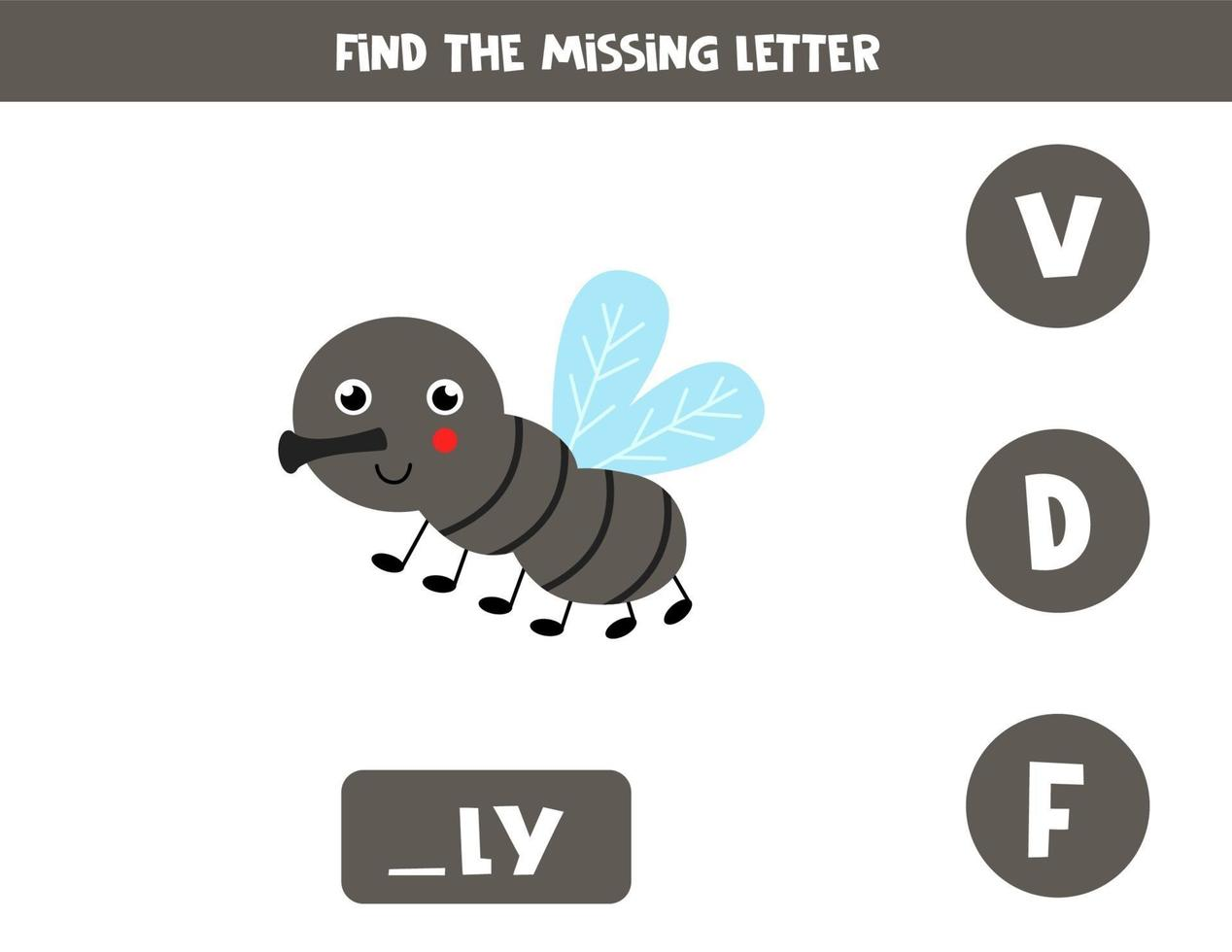 Find missing letter with cute gnat. Spelling worksheet. vector