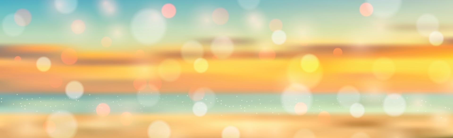 Summer panorama bokeh vacation at sea - illustration vector