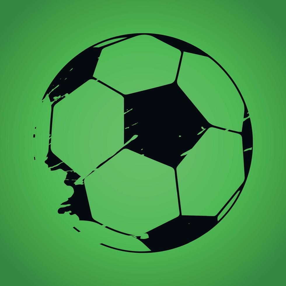 Drawn soccer ball in black on a green background - Vector