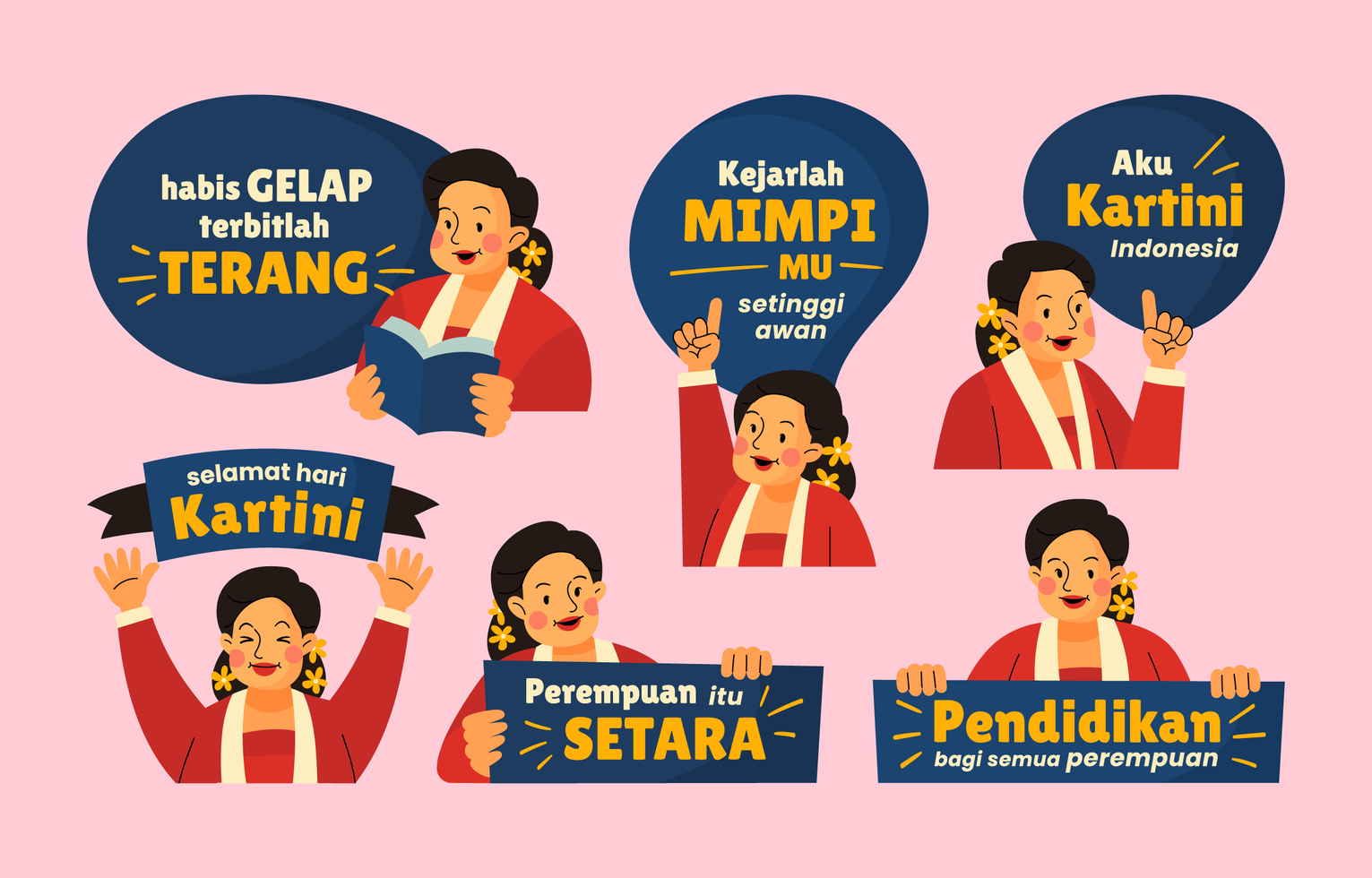 Kartini Day Sticker Collection in Flat Style vector