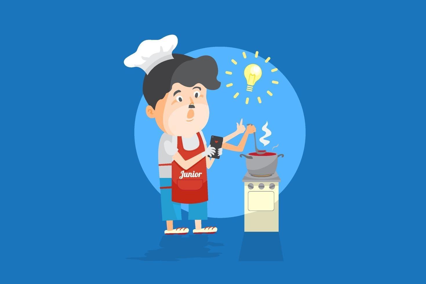Chef aficionado aprendiendo cursos de comida en forma de lección en línea en teléfonos inteligentes, estudiando en la clase de cocina en línea, como ilustración de vector plano de dibujos animados de entrenamiento cara a cara