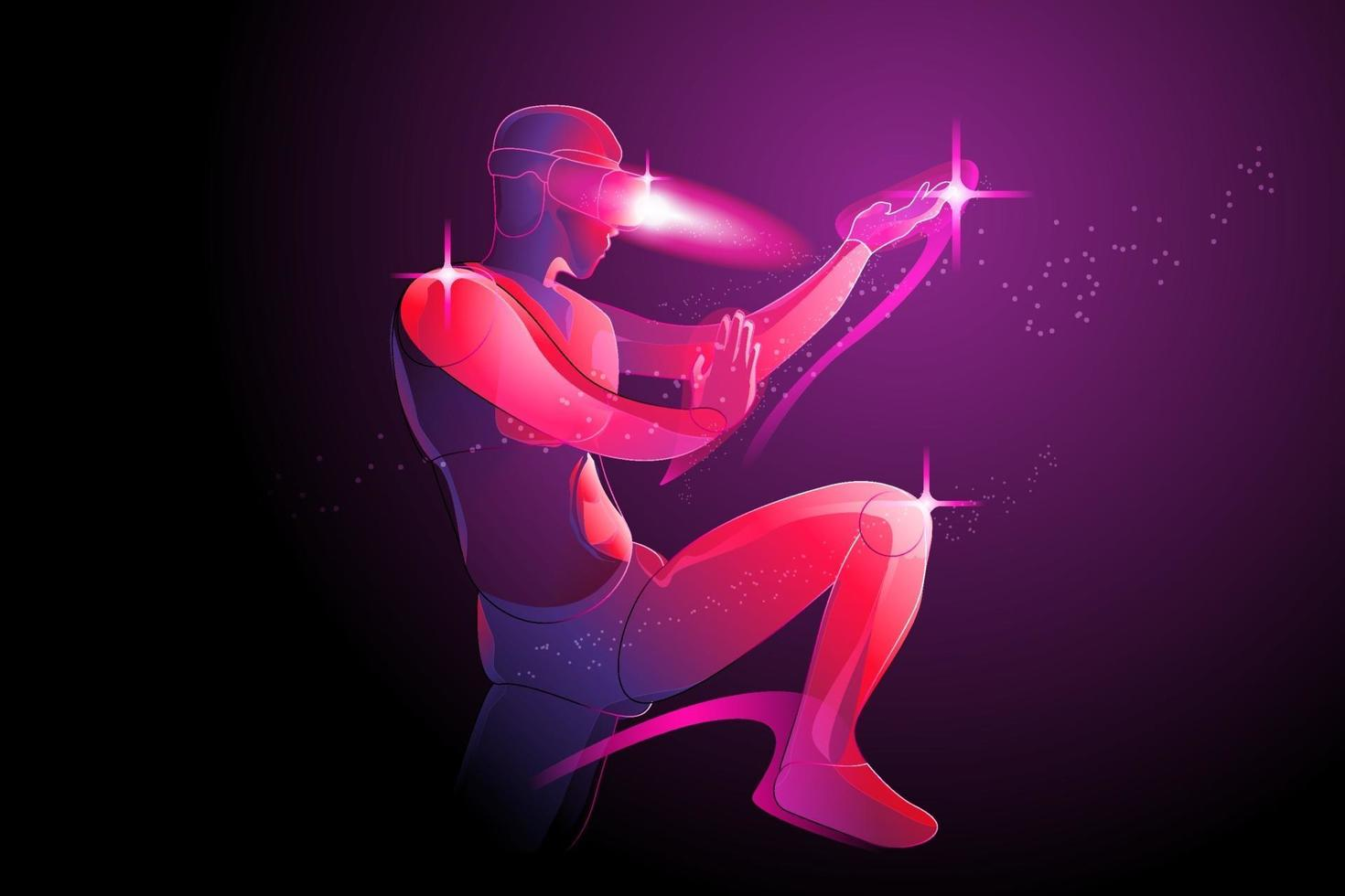 The man posing prepare to fight, by wearing virtual reality machine VR, imagination to fight someone in digital world, tai chi, kung fu, karate, taekwondo, jujutsu, vector illustration in violet.