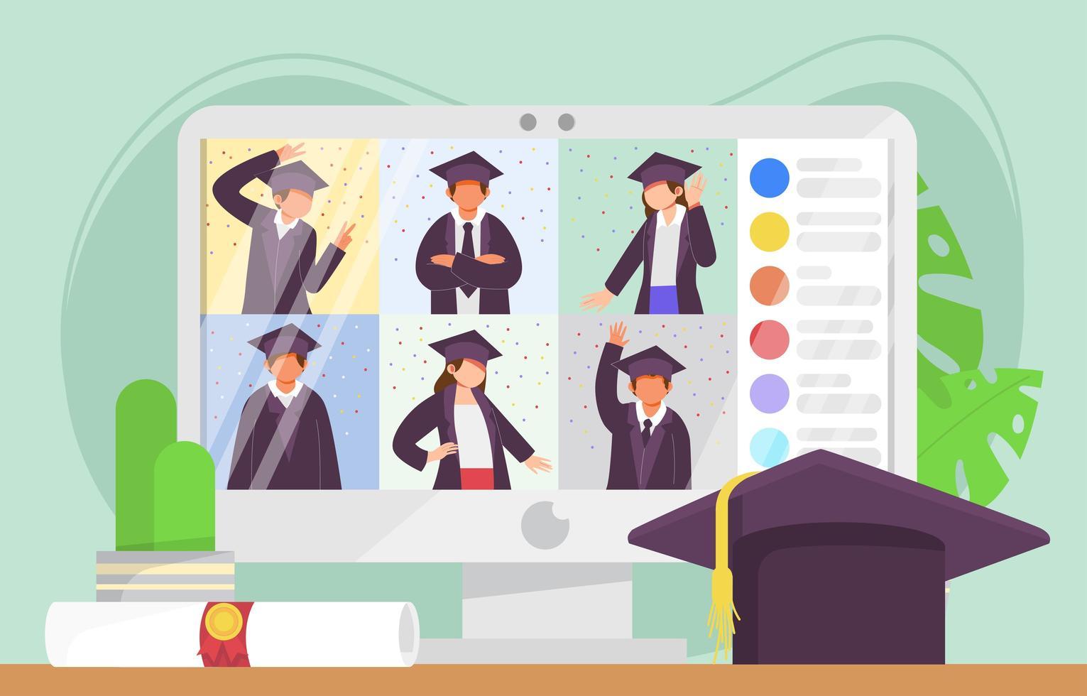 diseño de concepto de graduación en línea vector
