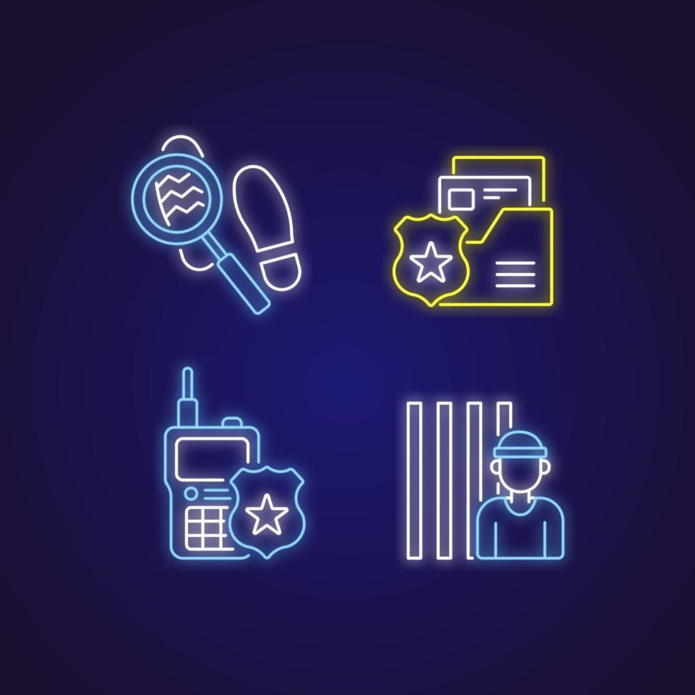 Police color neon icons set. Law enforcement. Protection equipment. Thin line contour symbols. Isolated vector outline illustrations.