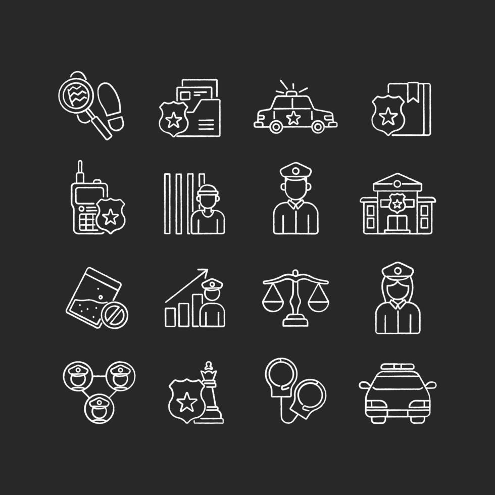 Police linear chalk set. Law enforcement. Transport, protection equipment. Thin line contour symbols. Isolated vector outline illustrations.