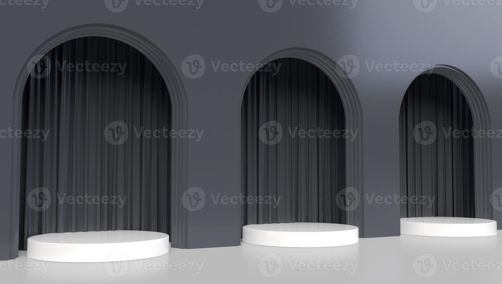 Representación 3D de tres arcos negros foto