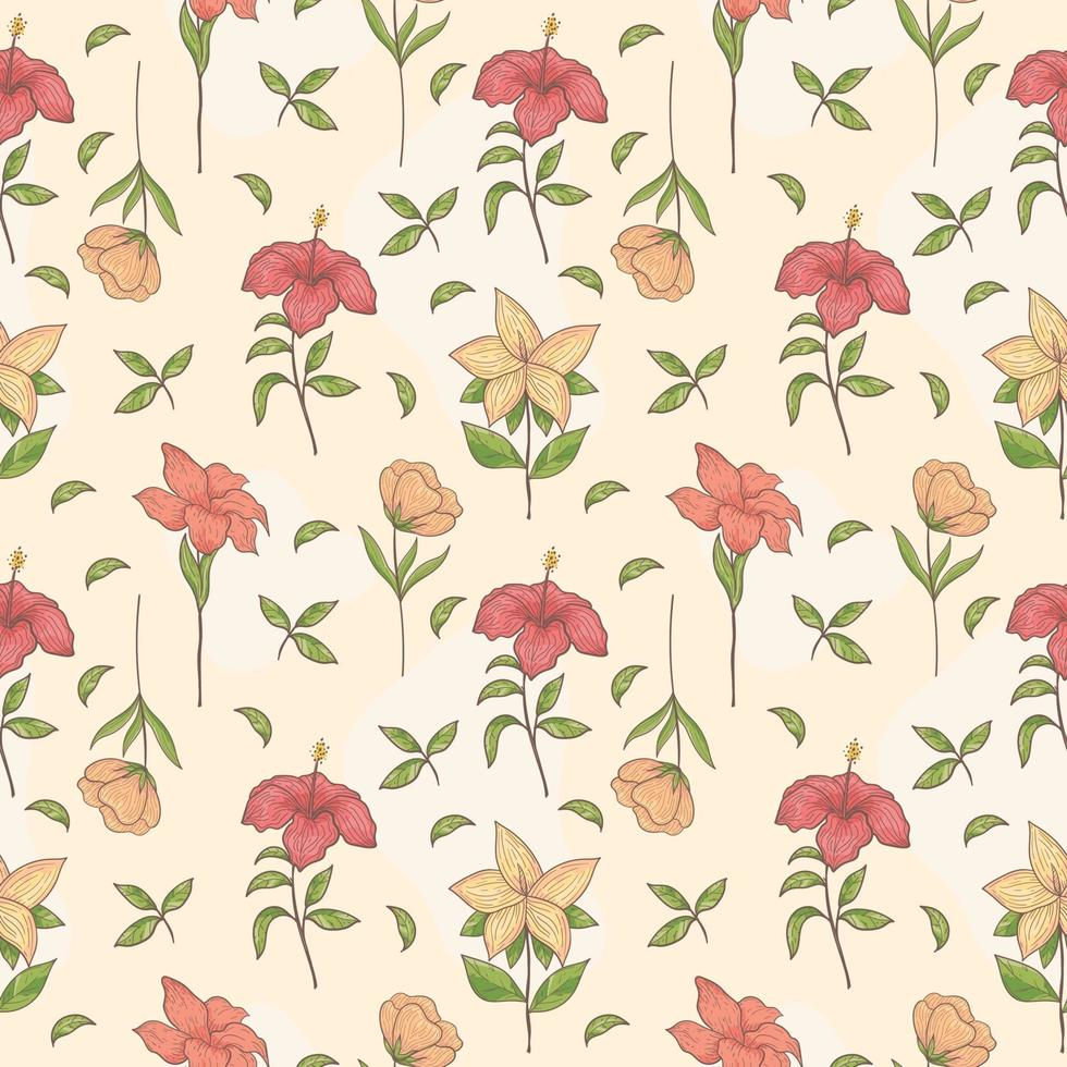 Hand drawn Seamless Pattern tropical flower vector