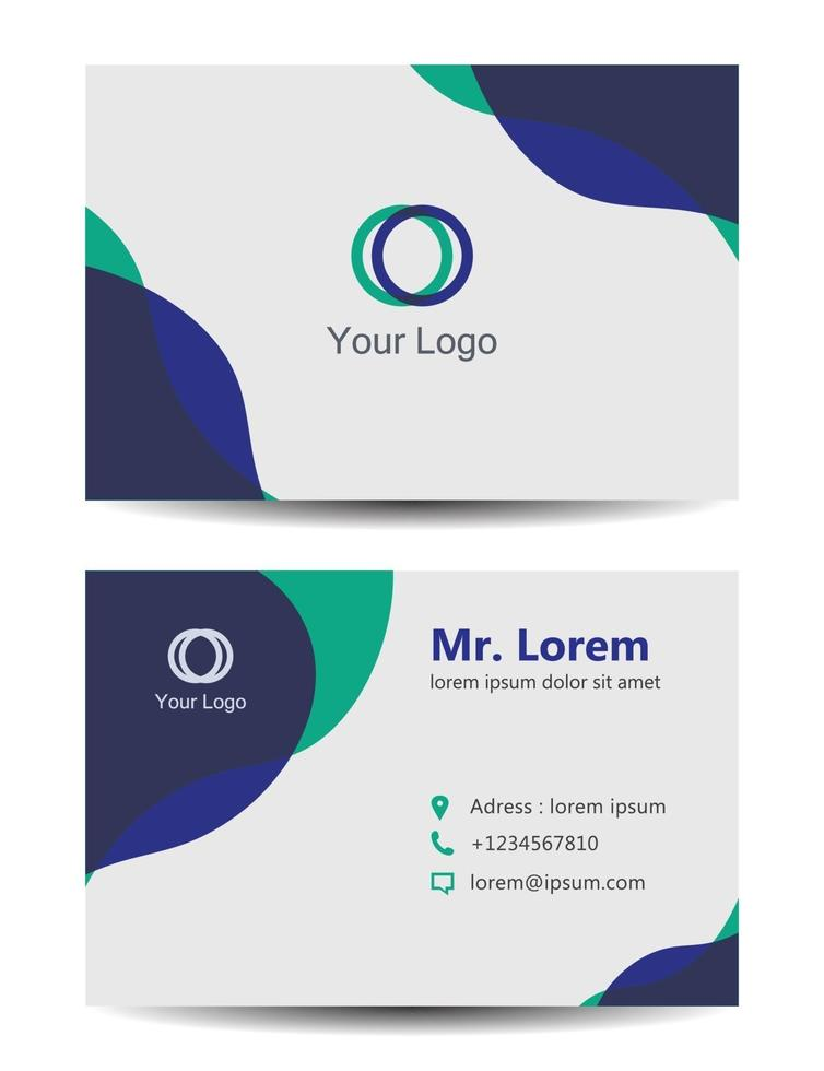 minimal blue business card vector template