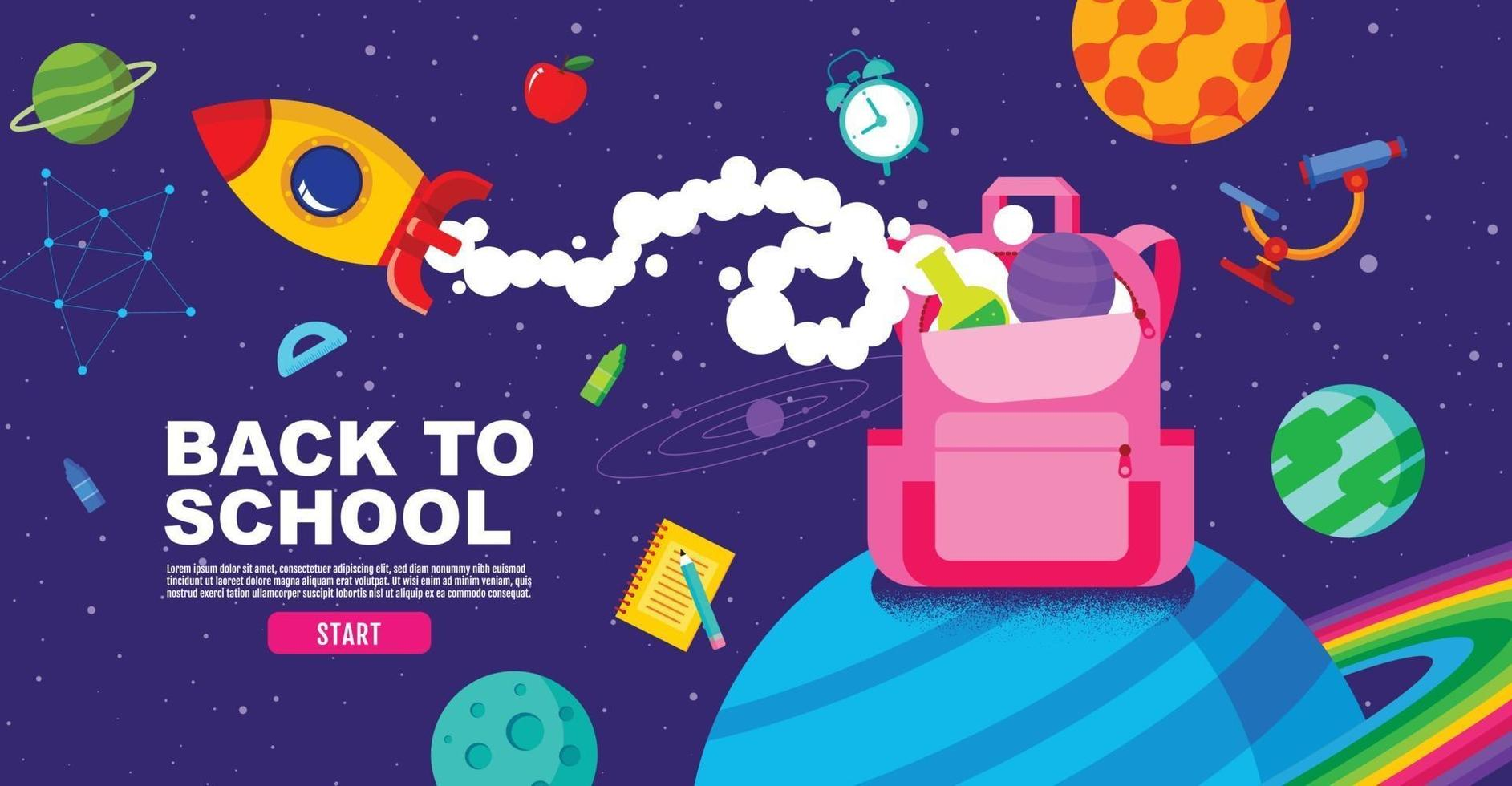 back to school, Online Learning, study from home, flat design vector. vector