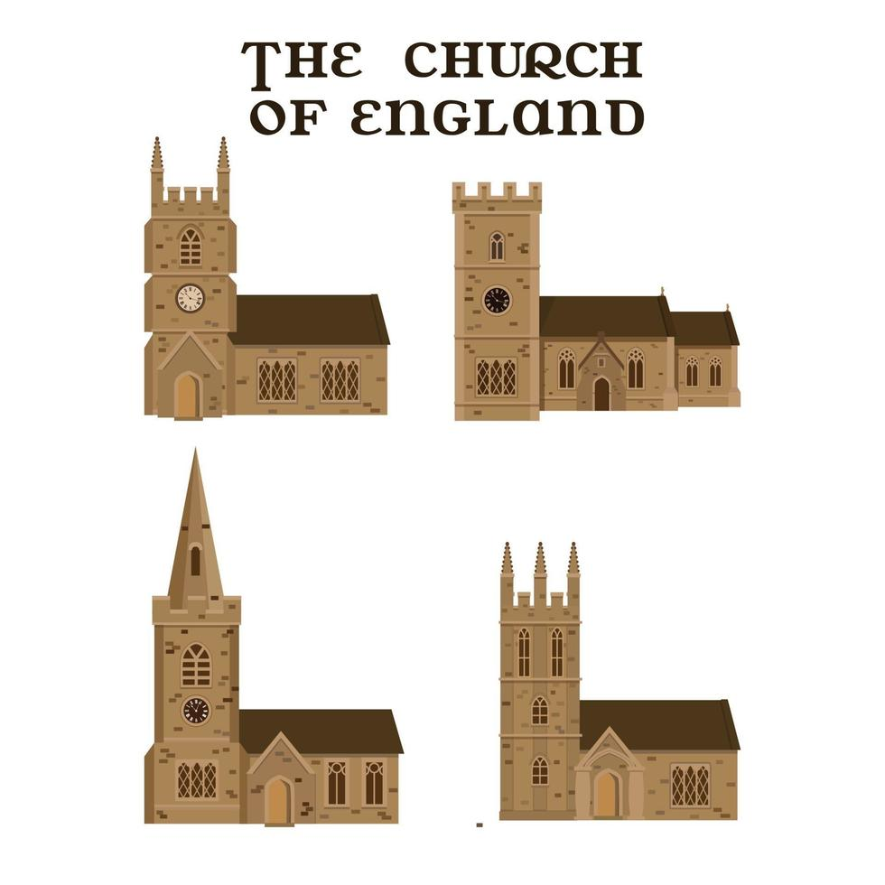 The set of English churches. Vector illustration.