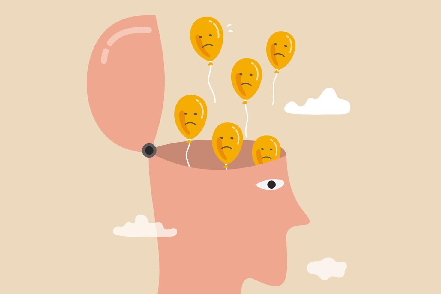 relajación para dejar volar la ansiedad y los pensamientos negativos, aliviar mentalmente o atención plena para curar la depresión, abrir la cabeza para dejar volar globos con cara triste e infeliz. vector