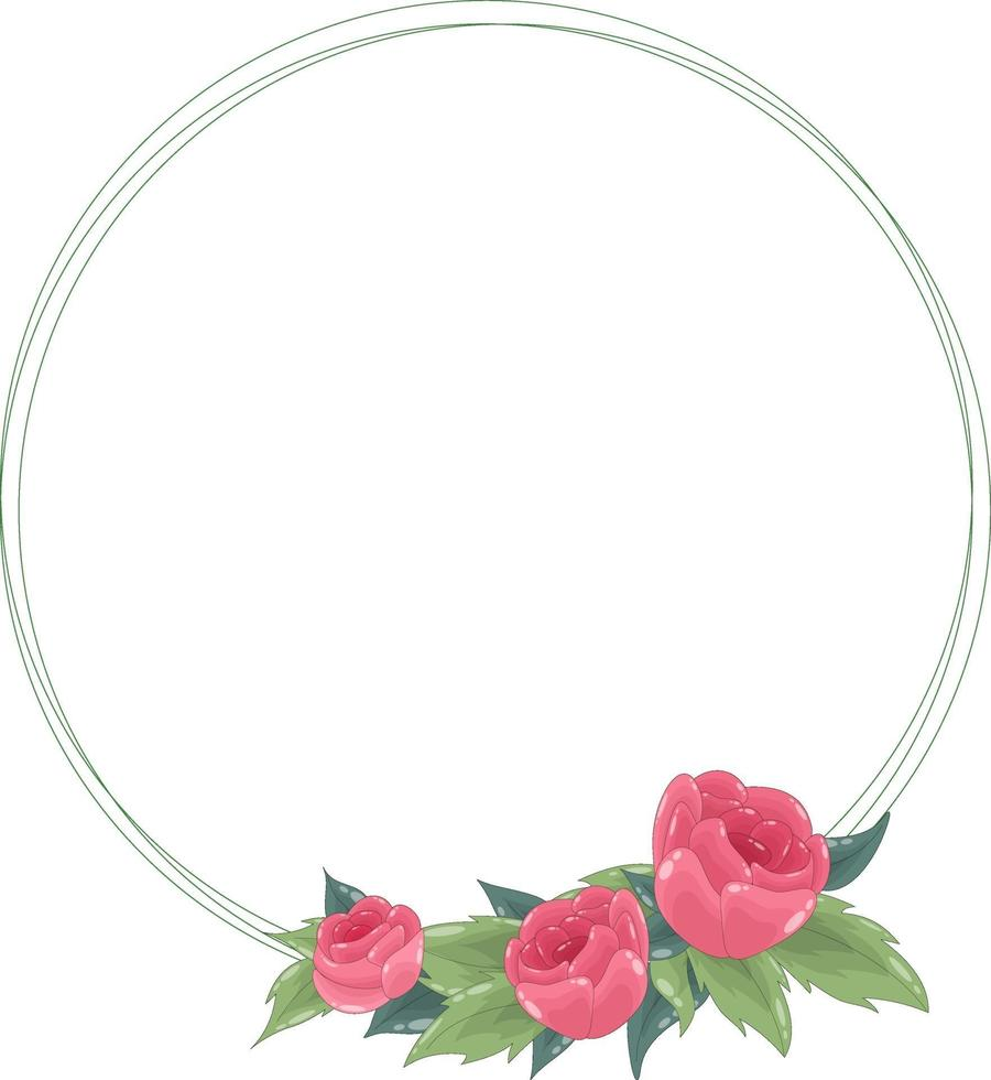 Vector round frame with lines, red roses and green leaves. The wreath has a place for text inside