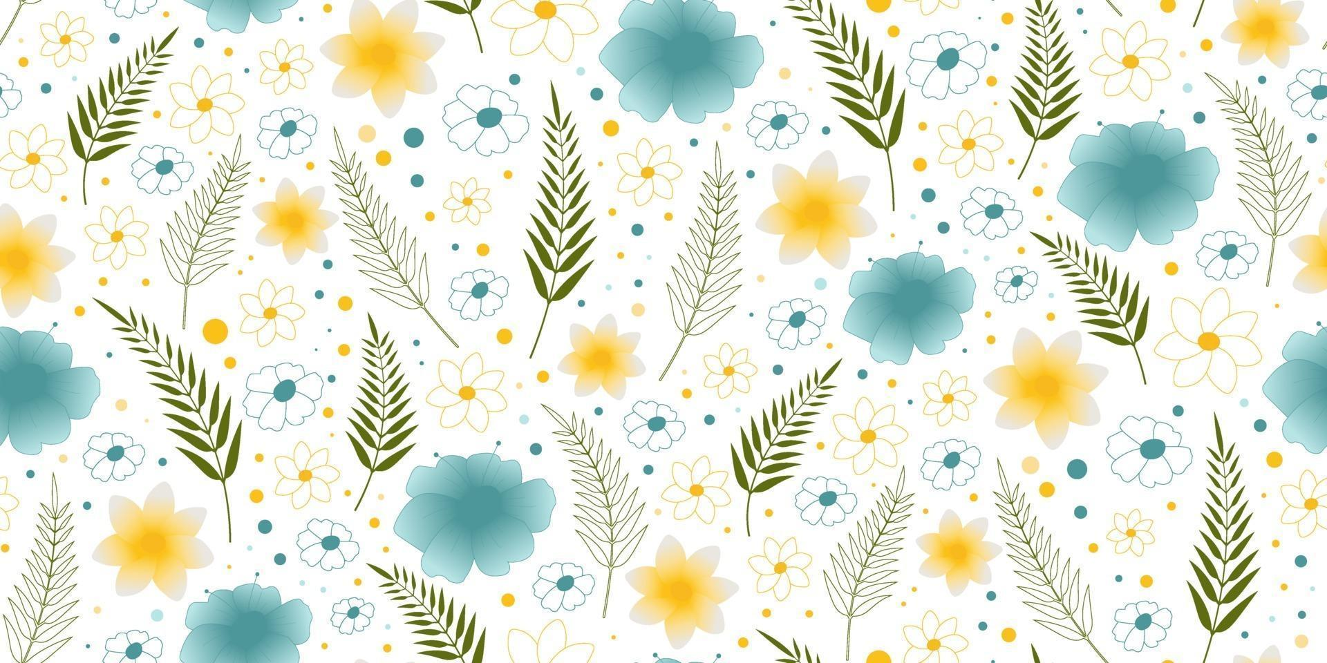 Beach cheerful seamless pattern with palm leaves and flowers. Perfect for wallpaper, background, wrapping paper and fabric. vector