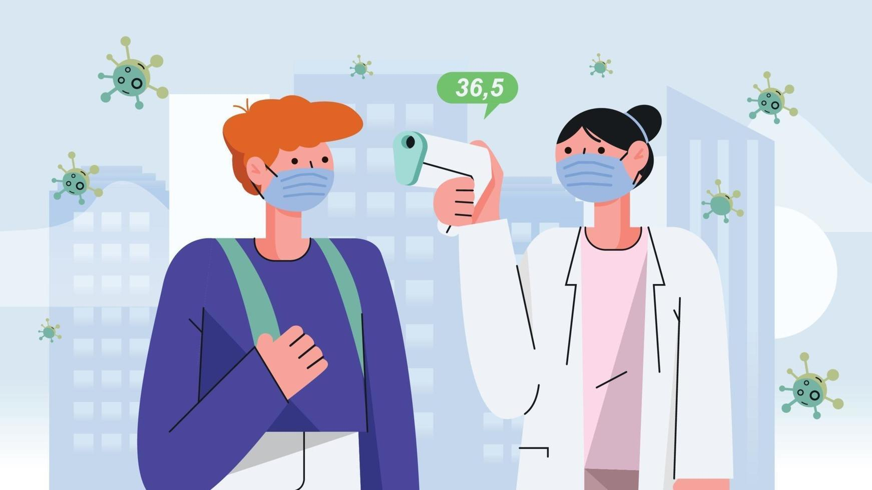 The Doctor using digital Thermometer to Check Body Temperature patient's in public area, Flat illustration vector