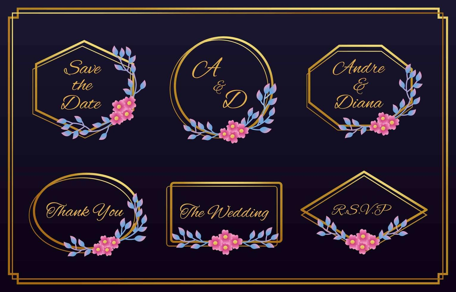 Set of Floral Wedding Logos and Monogram vector