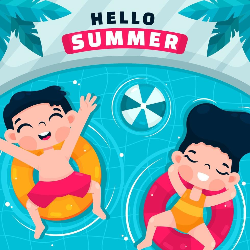 Happy Children Enjoying Summer in Swimming Pool vector