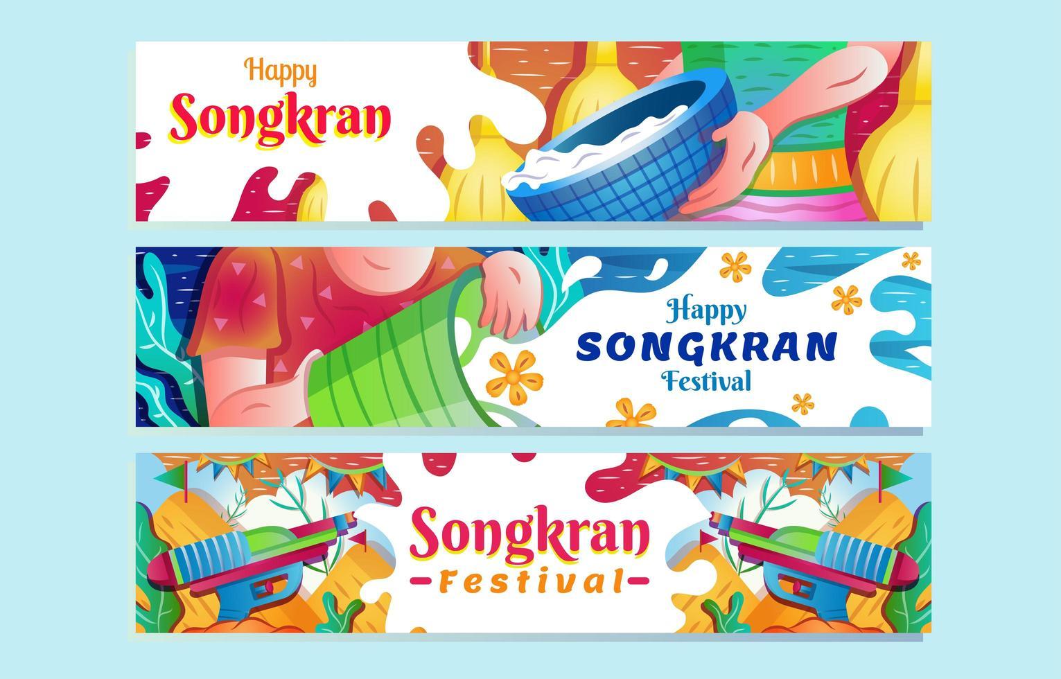 Happy Songkran Water Splashing Festival Banner Set vector