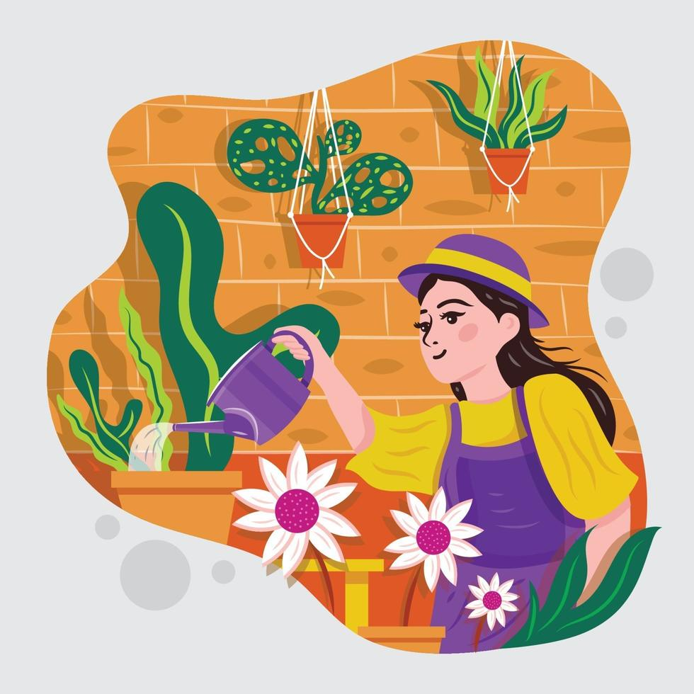 Girl Gardening And Watering Plants And Flowers vector