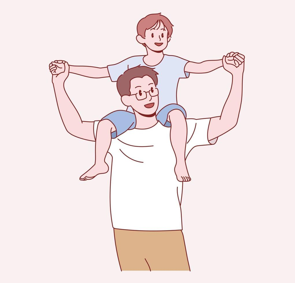 Dad carries his young son on his shoulder. Hand drawn style vector design illustrations.