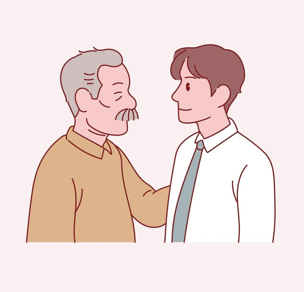 An old father and a young son stand facing each other. Hand drawn style vector design illustrations.