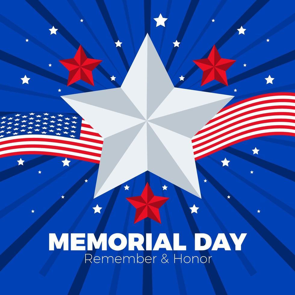 las estrellas y la bandera americana para el héroe vector