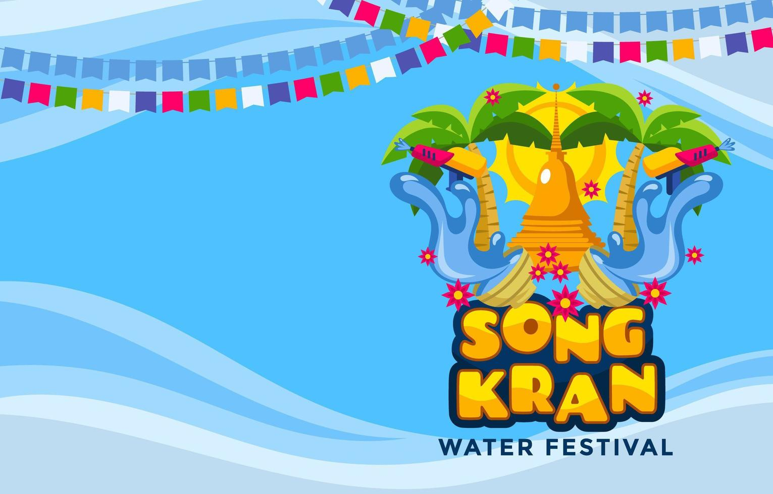 The Great Traditional Songkran Water Festival Background vector