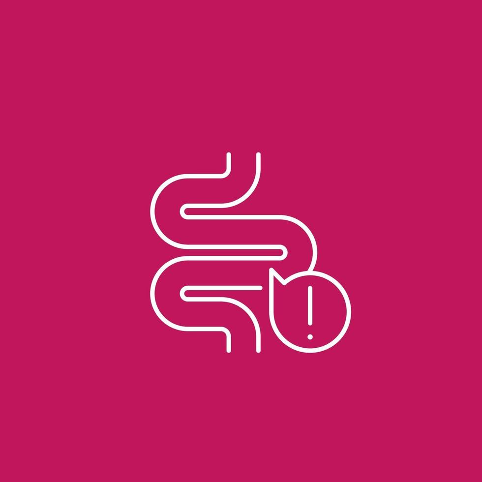 constipation icon with bowel, linear vector