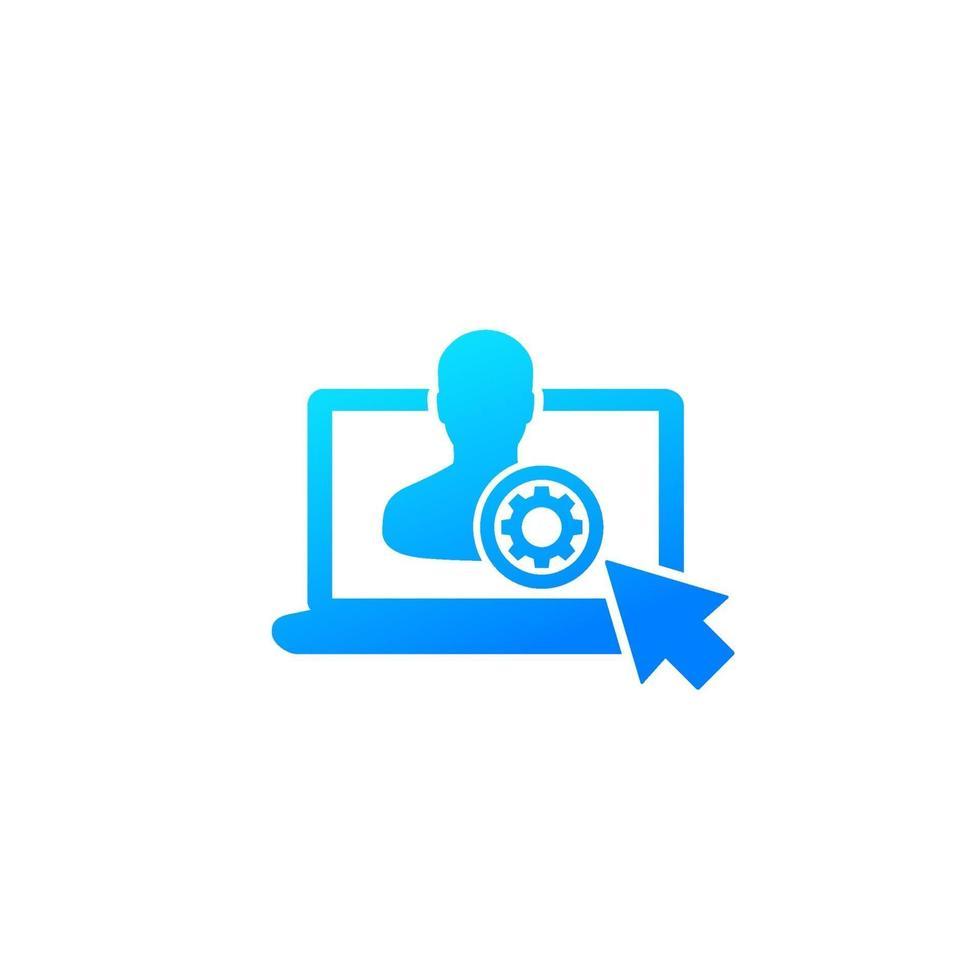 cuenta, icono de configuración de perfil en blanco vector