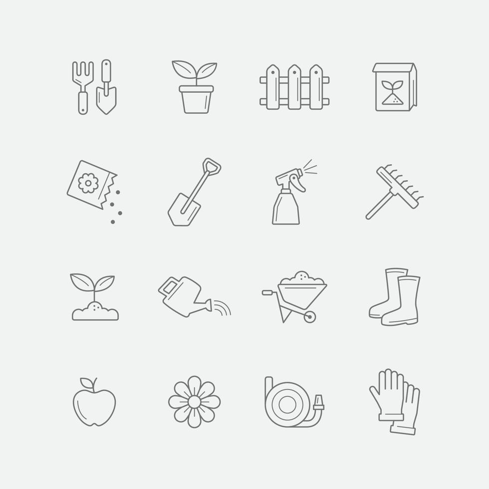 Thin Line Gardening Icon Set vector
