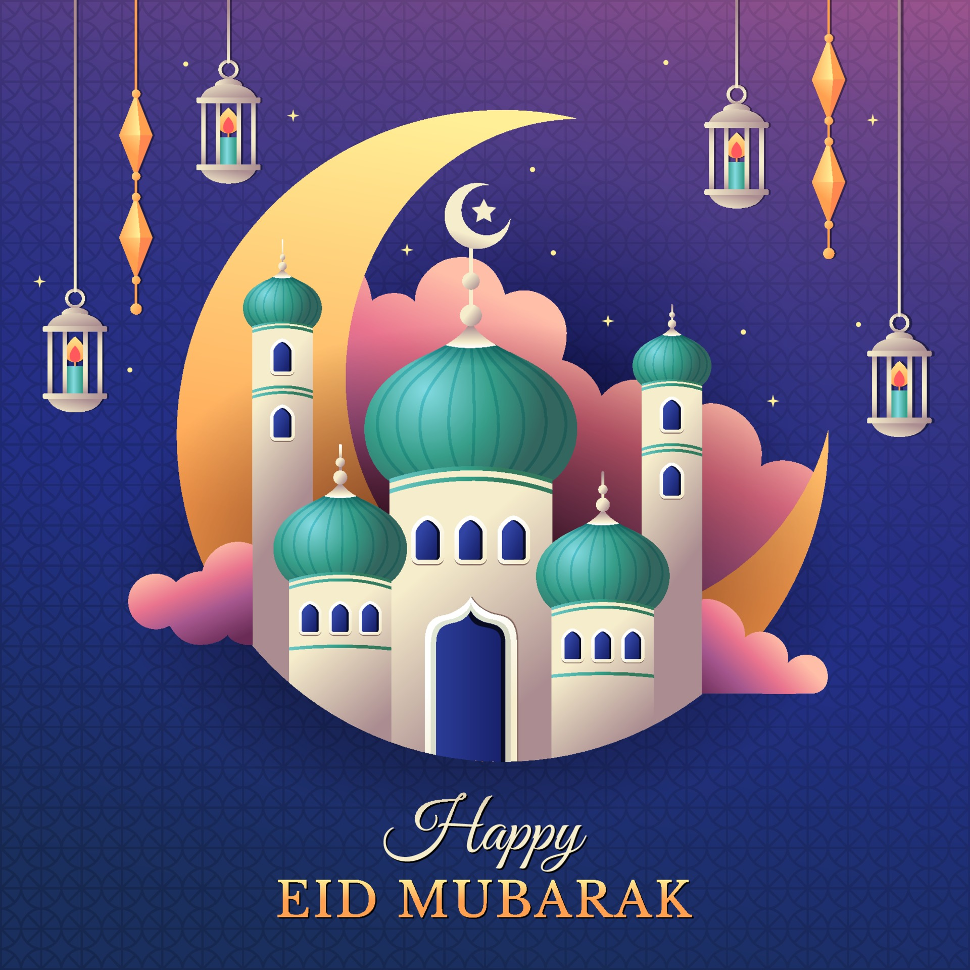 Happy Eid Mubarak Greeting With Mosque And Lanterns 2206429 Vector Art At Vecteezy
