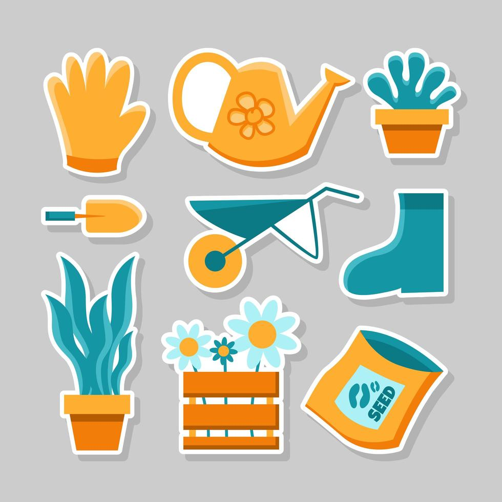 Simple Flat  Design For Gardening Sticker Pack Set vector