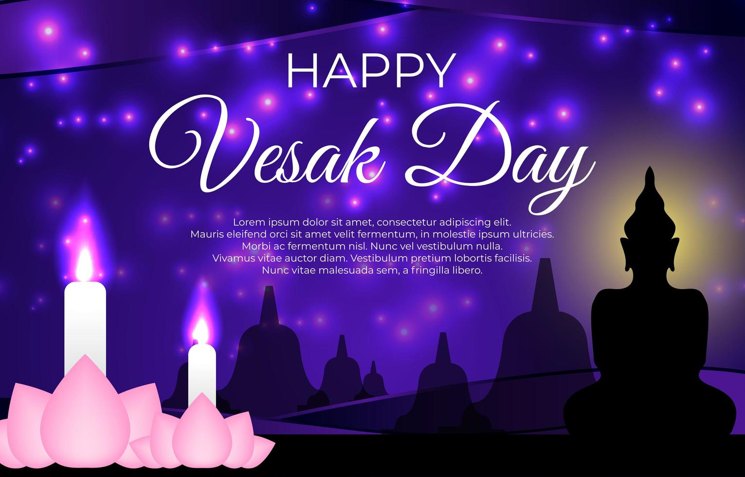 Vesak Day Greetings With Lotus and Candle vector
