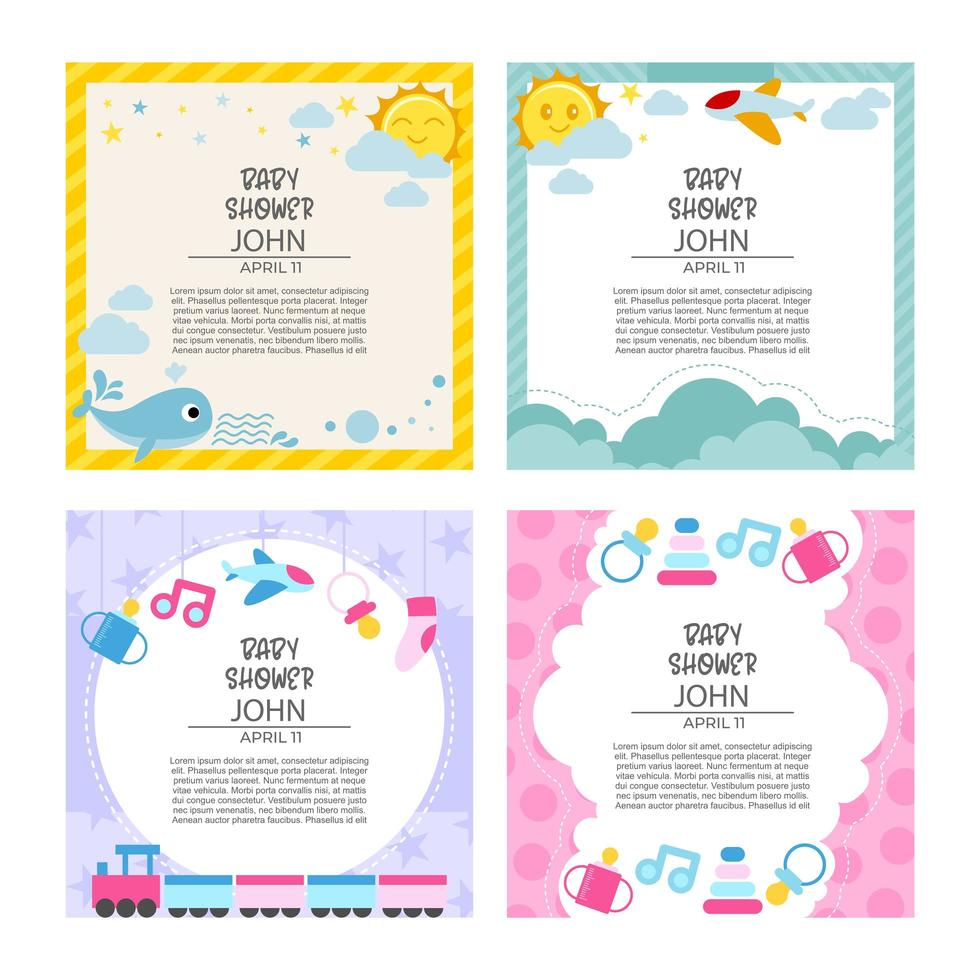 Baby Shower Celebrating Card Template vector