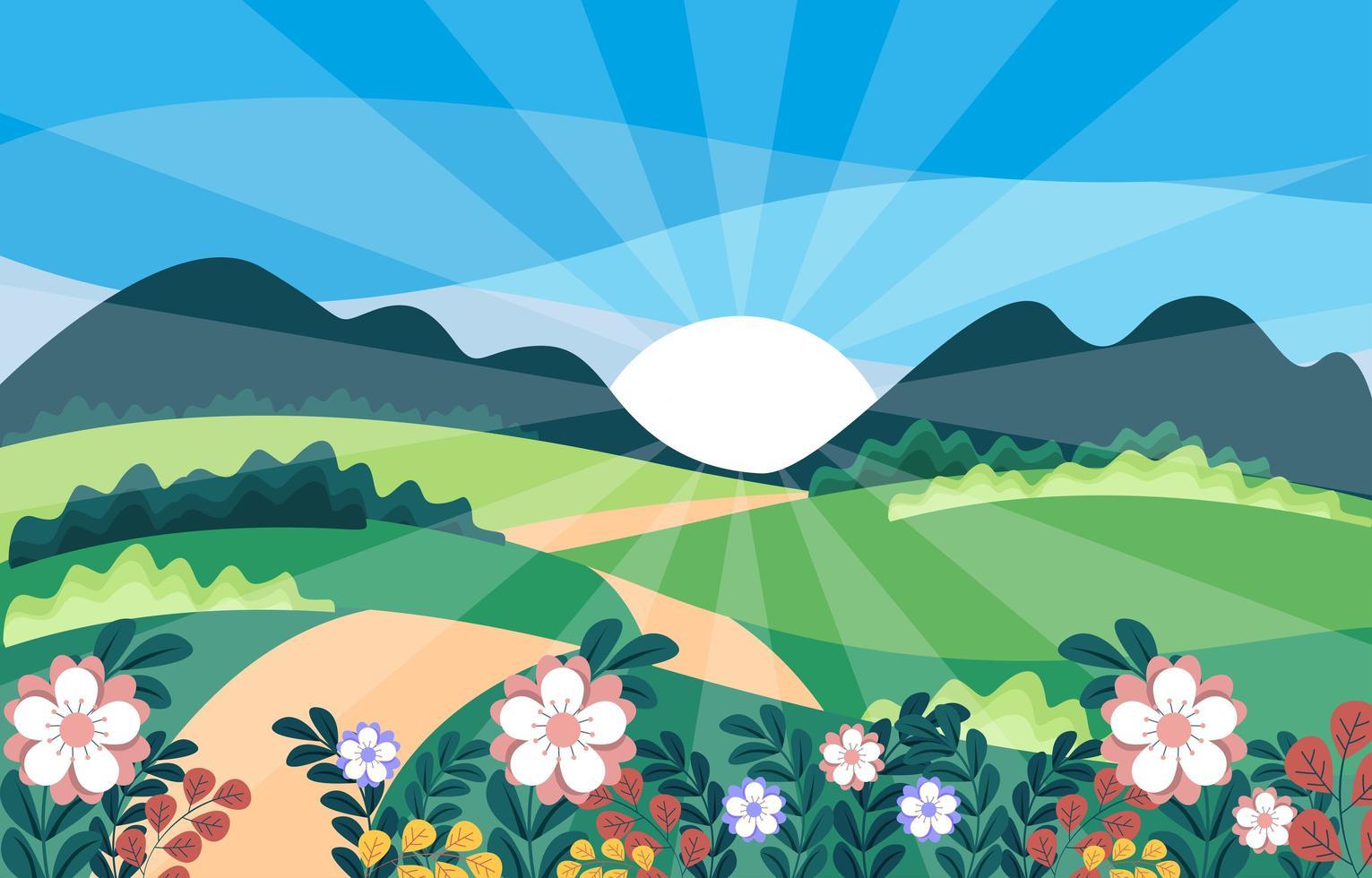 Spring Landscape View Vector Illustration