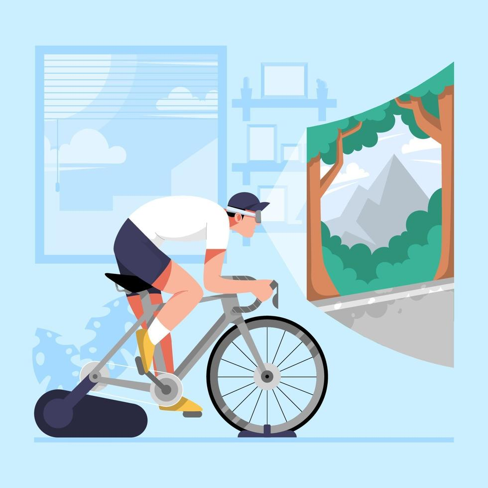 andar en bicicleta en casa con gafas de realidad virtual vector