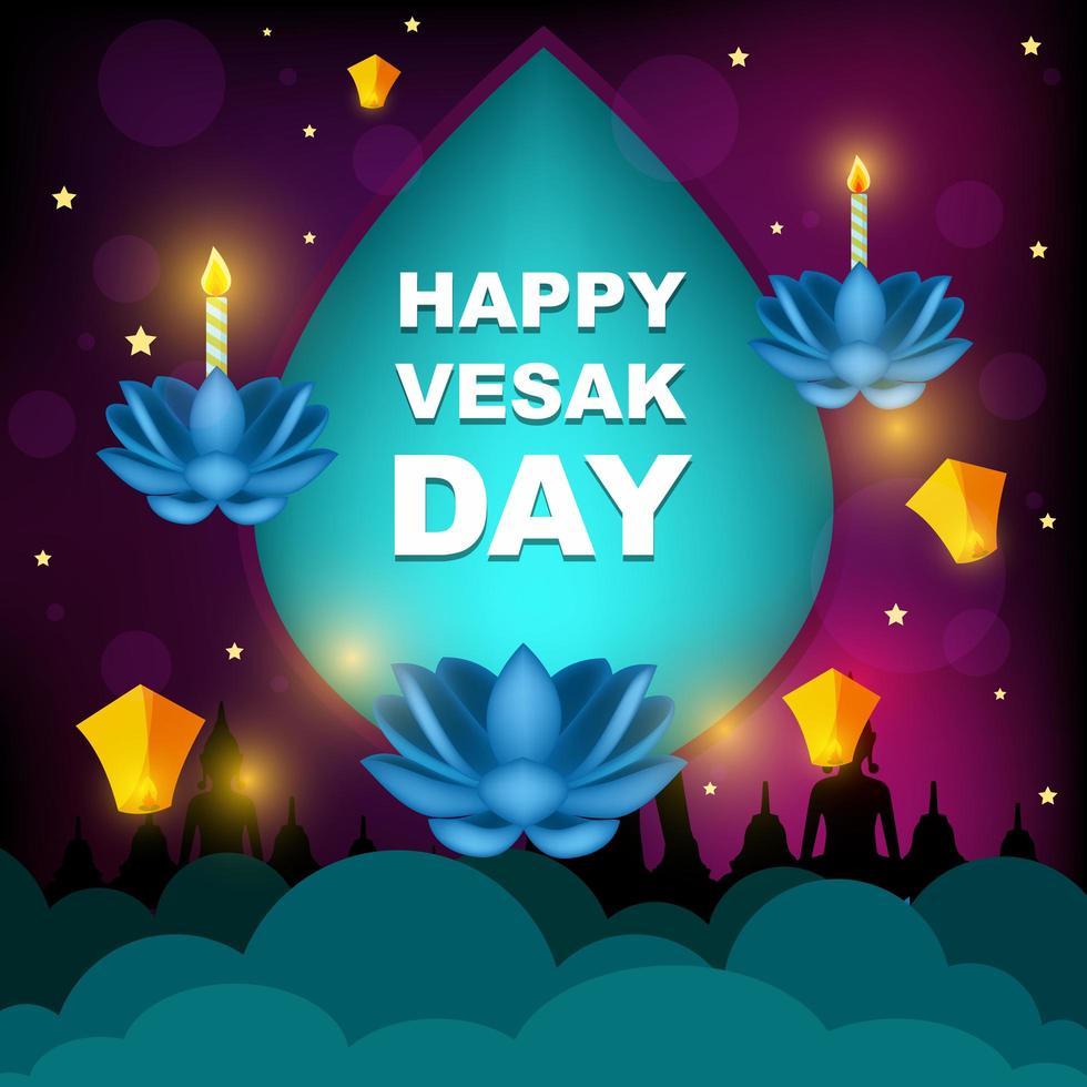 Happy Vesak Day with Purple Ornament vector