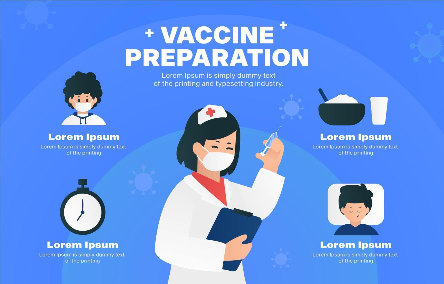 Vaccine Preparation Step Infographic Template vector