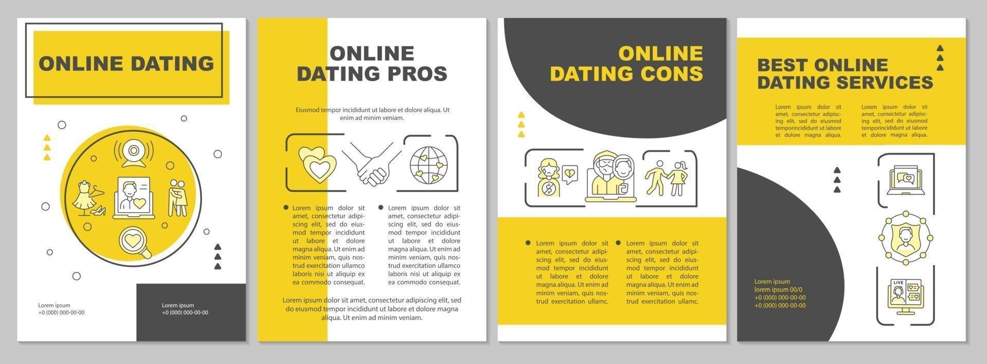 Online dating brochure template vector