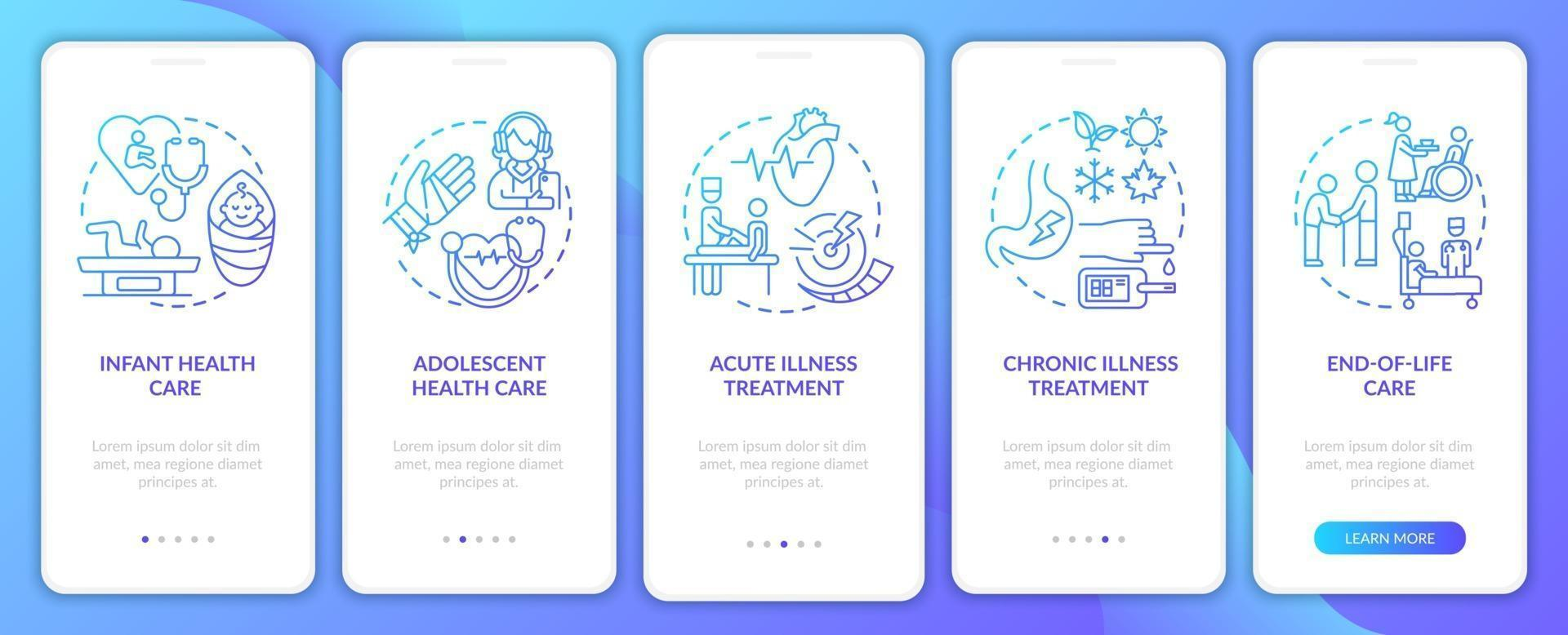 Family doctor support navy onboarding mobile app page screen with concepts vector