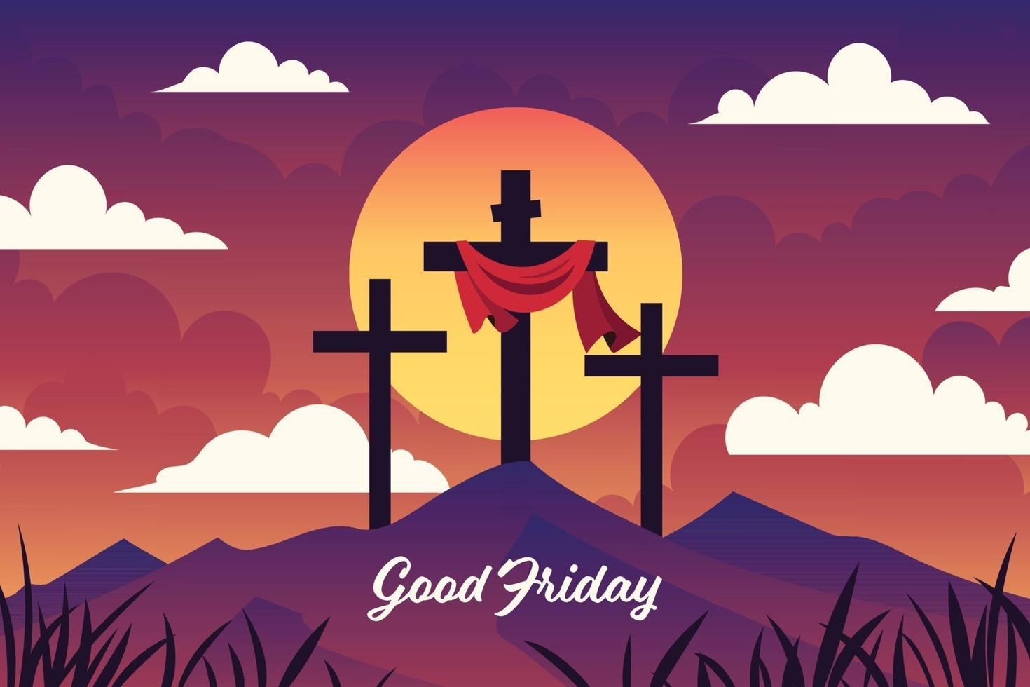Cross on the Hill for Good Friday Design vector
