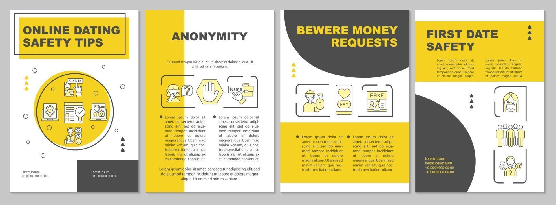 Online dating safety tips brochure template vector