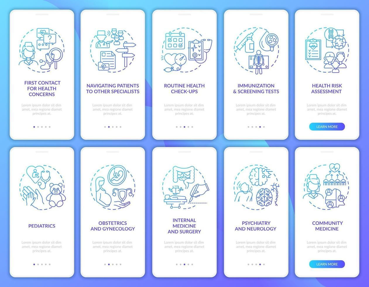 Family doctor navy onboarding mobile app page screen with concepts set vector