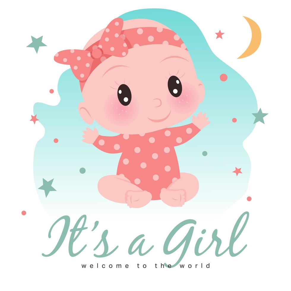 It's A Girl Shower for Baby Girl vector