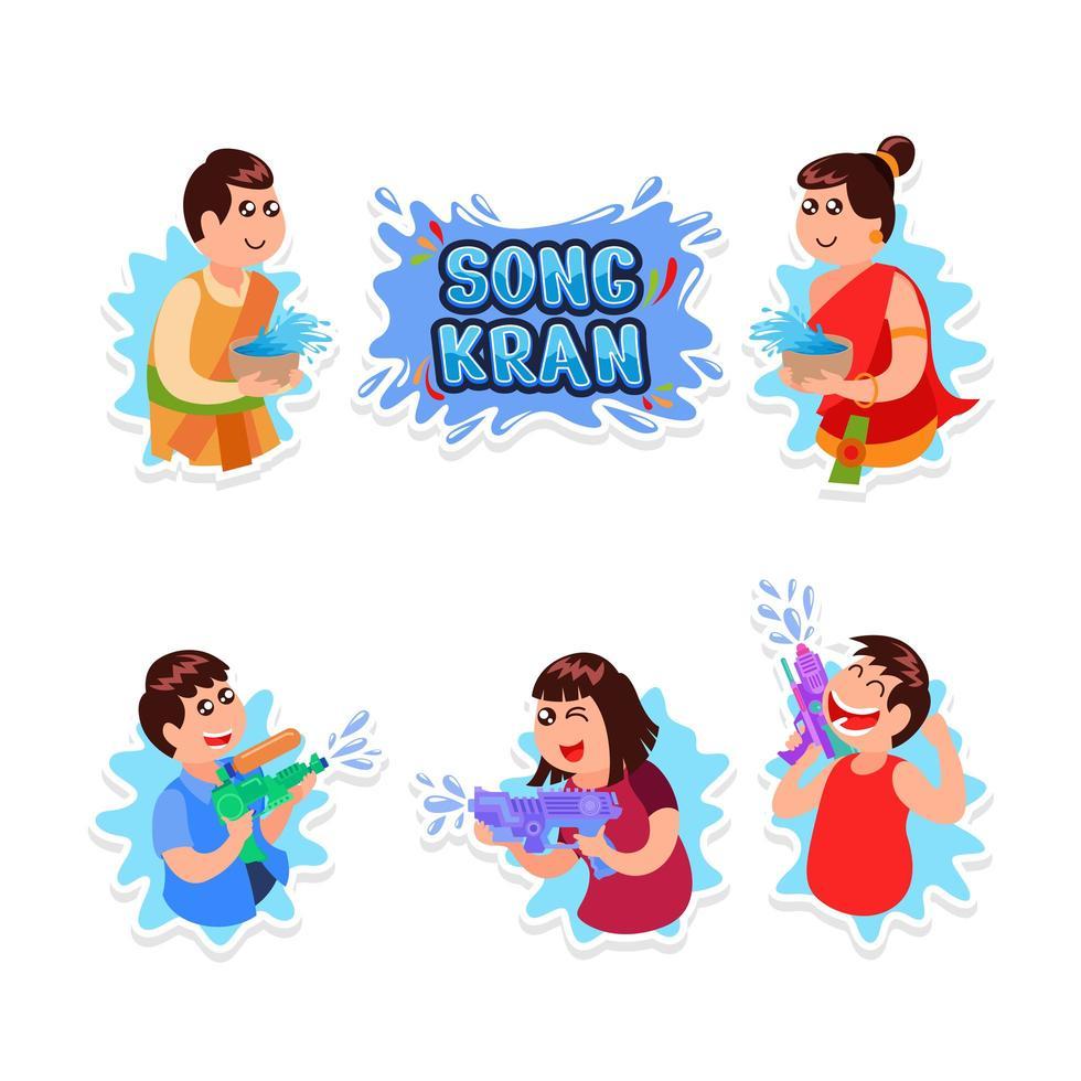 Songkran Day Festivity Sticker Design Set vector