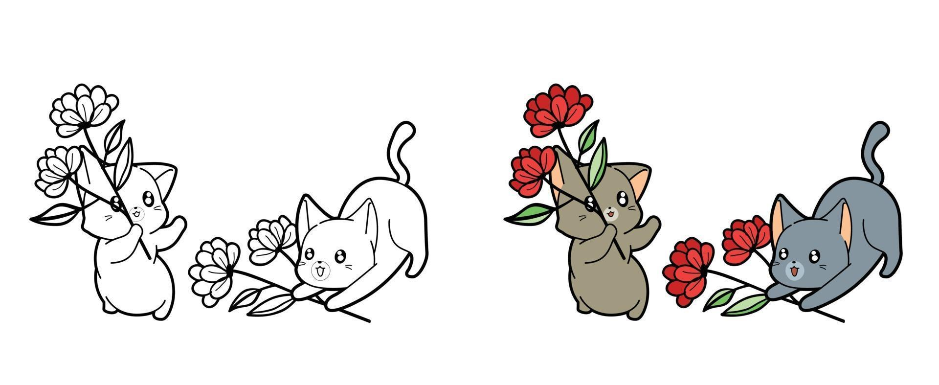 Cartoon cats and flowers coloring page for kids vector
