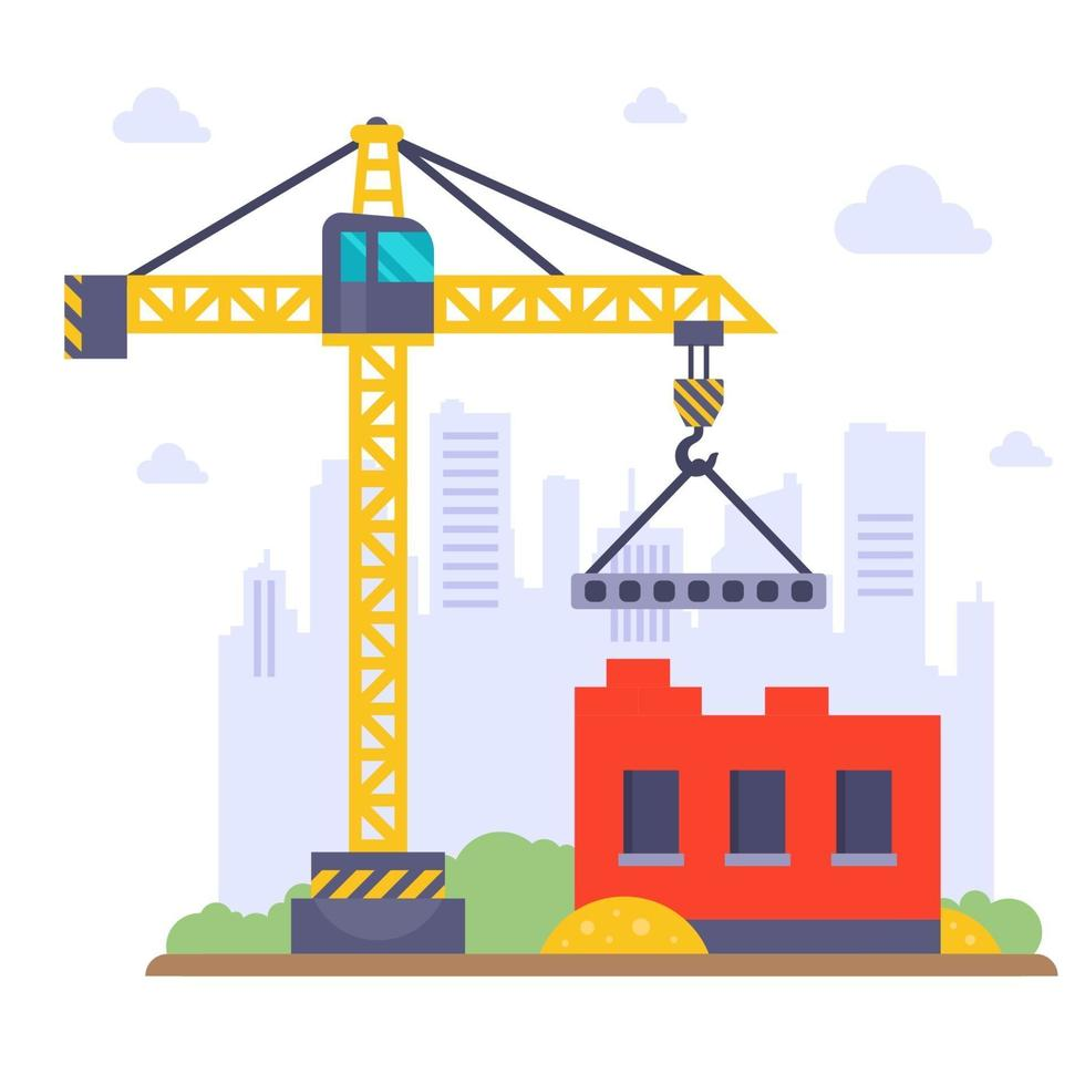 Construction crane builds a prefabricated house on the background of the city vector