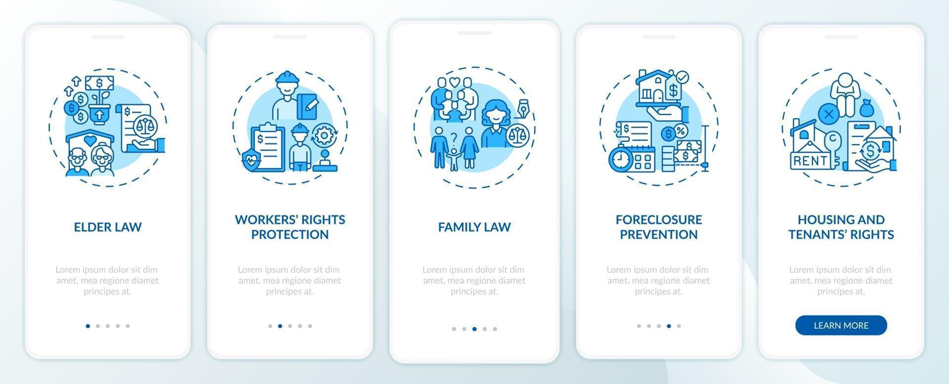 tipos de servicios legales incorporación de la pantalla de la página de la aplicación móvil con conceptos vector