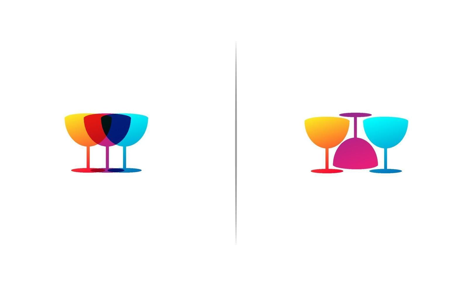 3 glass bar logo template vector