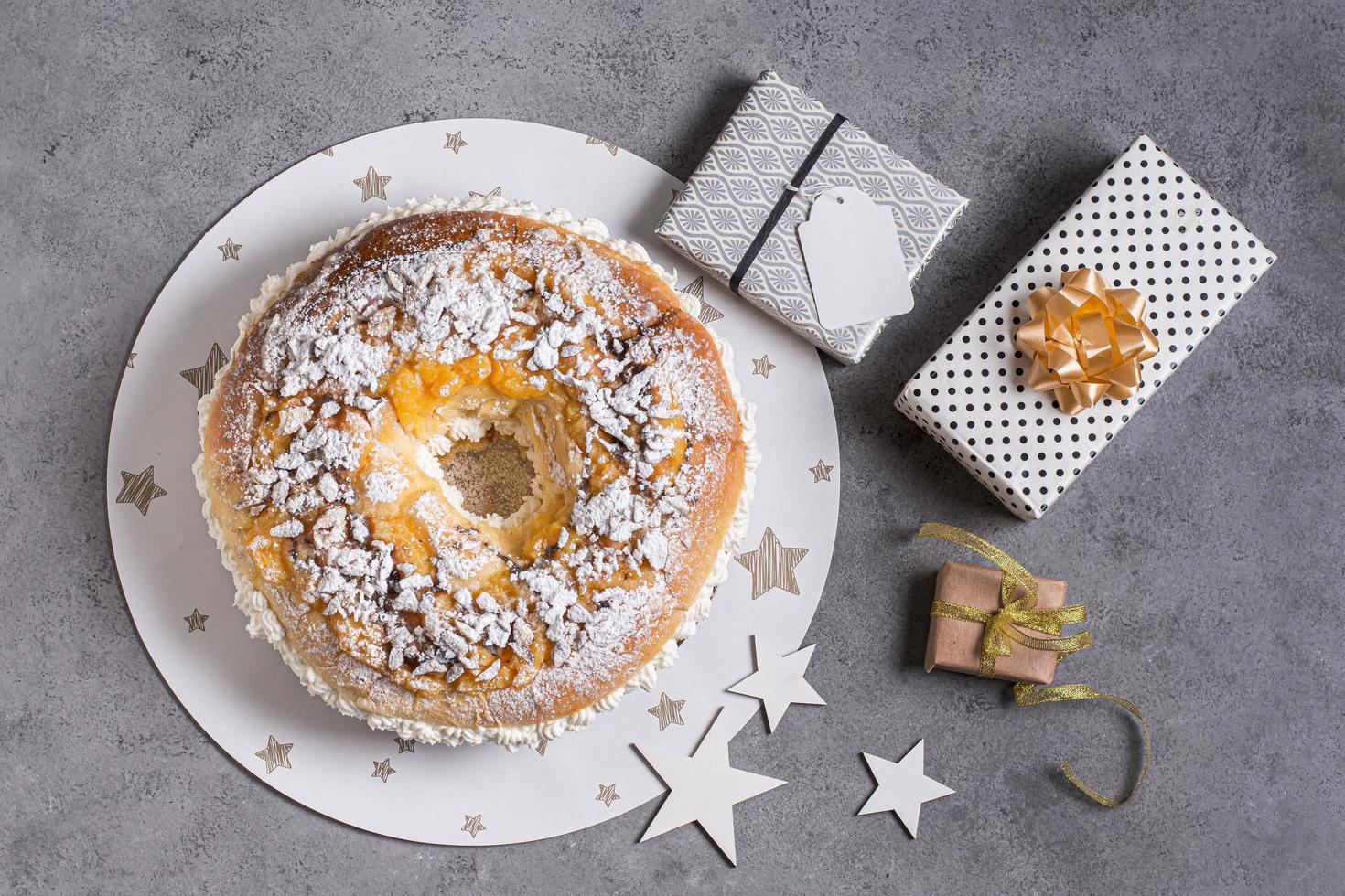 Flat lay Epiphany day dessert with ingredients copy space photo