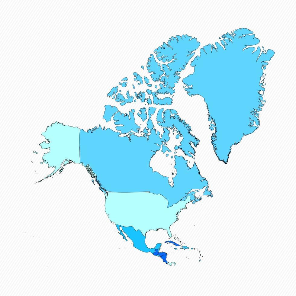 North America Divided Map With Countries vector